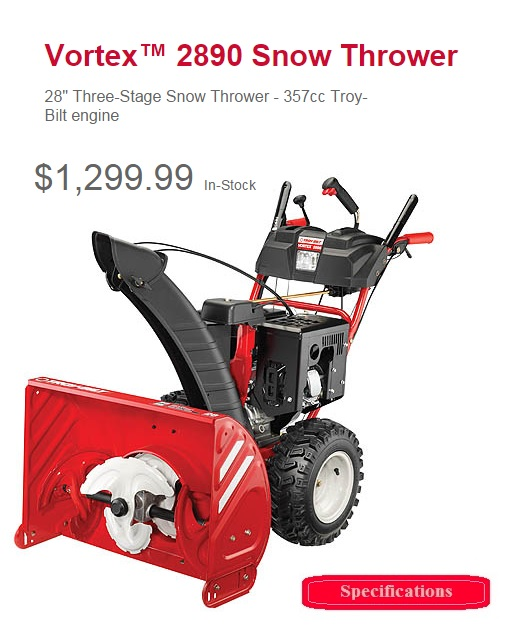 troy bilt vortex 2890 tag