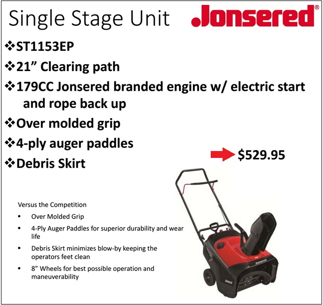 JONSERED ST1153EP SPEC SHEET