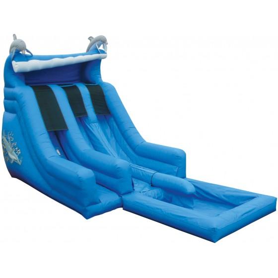 e inflatables dual lane super splash w pool